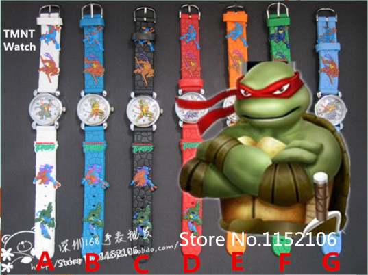 Venta al por mayor teenage mutant ninja turtles reloj de dibujos animados para niños 10pcs/lot 3d de dibujos animado