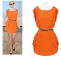 2014 New Women Summer Dresses Casual Clothing Sleeveless Tank Chiffon Dress Vestidos with Belt 3 Colors M-XL A1001