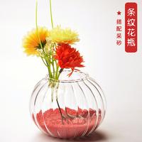 Fashion beautiful stripe new countertop transparent glass vase hydroponic flower fashion home accessories