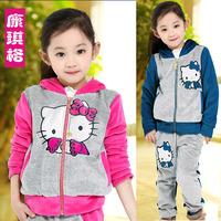 Children's clothing female child set spring 2014 child velvet sportswear baby child sweatshirt twinset