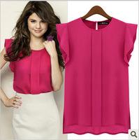 2014 Hot Sale Fashion Women Chiffon Shirts OL Ladies' Round Blouses & Shirts Collar Short-Sleeved Women Blouse Fashion Clothing