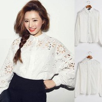 2014 spring new fashion women blouses solid white lace embroidery women clothing shirt women tops elegant l blouses  8025-639