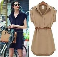 2014 New Summer Women Short-sleeved Large Size Loose Shirt Chiffon Dresses With Free Belt Fashion Casual Dress S-XXL 7054