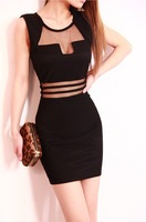 Promotion!New 2014 Summer Sexy Black White Stripes Transparent Lace Women's Dress Casual Vestidos 1353