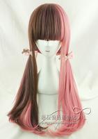 Free shipping women japanese lolita harajuku brown pink  mixed gradient anime cosplay wig