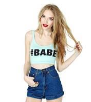 New Fashion Women's Small Vest Babe Letter Print Close-fitting Elastic Short Design Bare Midriff Mint Green Small Vest