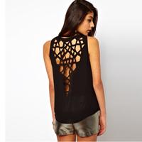 New Summer Fashion Sexy Women's T-shirts 2014 Behind Cutout Hole Racerback O-neck Female Vest T-shirt