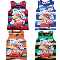 2014 NEW Fashion Stripe design Kids Tops Cartoon short Sleeve T shirt Children Boys t shirt /kids t shirt /Children T shirt