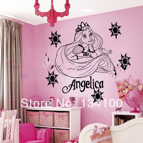 O nome personalizado feito princesa rapunzel de adesivos for Decalque mural