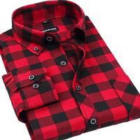 Cheap Fashion Mens Classic Long-sleeve Check Shirts S M L XL XXL XXXL XXXXL Slim Sanded-woolen Smart-casual Plaid Shirts for men