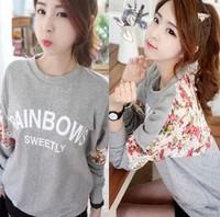 Low Price 2014 New Autumn Hoodies Sweatshirt Women Sport Suit Round Neck Warm Sweatershirts Girls 14c2133