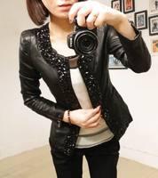 Hot selling! 2014 Women's Fashion PU Leather Jacket  Lady's Spring Cardigan Female Diamond Motorcycle Leather Jacket