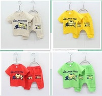 spring 2014 Free Shipping Cute cat kids children's clothes boys girls sport suits baby clothing