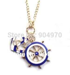 Retail & wholesale Elegant Brand Design Navy Blue Wheel & Anchor Pendant Necklace, retro, vintage jewelry free shipping(China (Mainland))