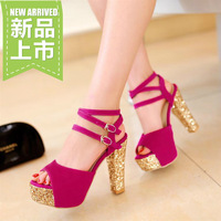 2014 women's open toe thick heel sandals female sweet platform cutout women's hasp high-heeled shoes