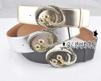 Fashion metal decoration wide cummerbund wide belt strap women's waist decoration silver