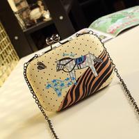 2014 candy color block bag mini bags Horse Panter evening one shoulder cross-body women's handbag Cluth Bag