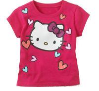 One Piece 2014 Baby Girls Cartoon Hello Kitty Short Sleeve Tshirt Kids T-shirt Children's Summer Clothes T Shirt  Free Shipping