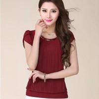 New 2014 women Summer Blouse short-sleeve ruffles solid Chiffon Blouse korea fashion Lace Blouse plus size loose 4 color S-2XL