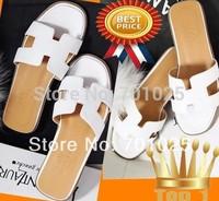 Fashion h slippers cutout sandals female women summer flat slippers toe casual