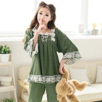 spring and autumn sleepwear cotton set vintage royal sleeve sleepclothes lace princess women's nightgown free shipping