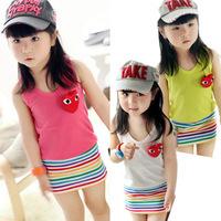 2013 NEW Design Ranbow Stripped Dress Children Kids Dresses Girls Casual Design Summer Wear 3Colours Pink Red Green