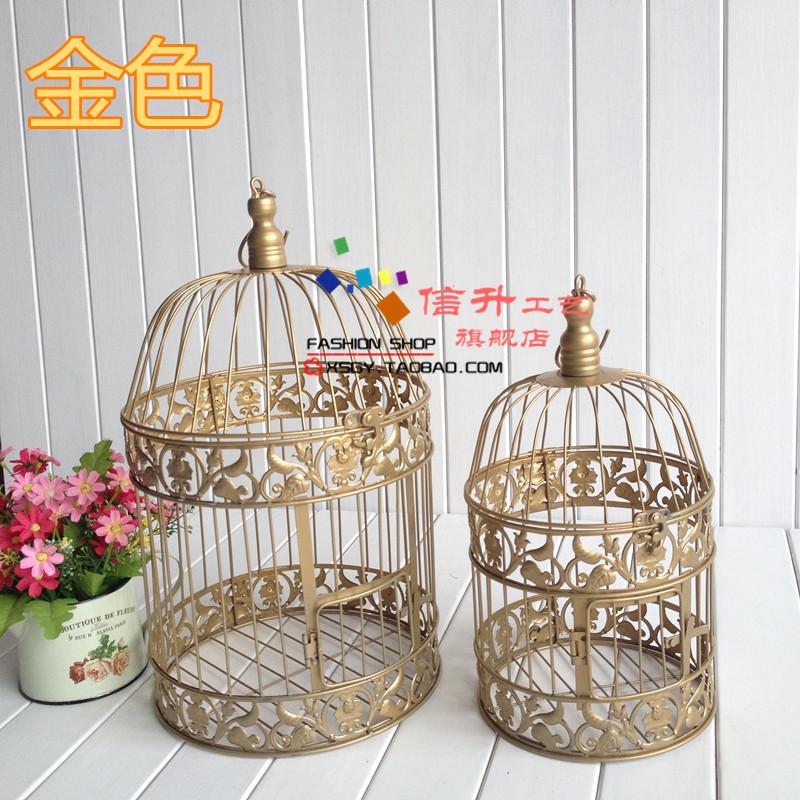 Gratis verzending fashion ijzeren vogelkooi rekwisieten decoratie bruiloft decoratie gouden - Decoratie kooi ...