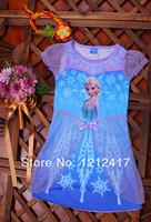 Frozen Princess Elsa Child Girls Fancy Dress Costume Cosplay Dresses Anna Elsa Princess Dress Girls Frozen Summer Dress 5pcs/Lot