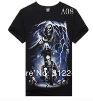2014Metal Men's Athletic Men's short sleeve t-shirt shirt Skull 3Dt men's tracksuit 3d t shirts 3d t-shirt