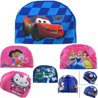 Cars Dora Thomas Swimming kids Hat Cartoon Lycra Cap for baby Boy and Girls Christmas Gift Children