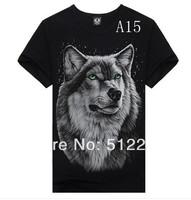 2014Metal Personalized Men Tee T-shirt men short sleeve Rock Creative 3Dt Garnett T-shirt shirt punk shirt wolves