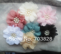 Free shipping pearls center Chiffon flowers Girls hair accessories Handmade chiffon Flowers for headbands DIY accessories
