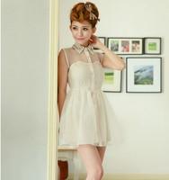 2014 New Fashion Free Bow Belt Spring Summer Sweet Pearl Diamond Lapel Waist Sleeveless Tank Vest Dress Gauze Tutu, DR0056
