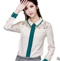 New 2014 spring women lace chiffon shirt blouse retro chiffon shirts long sleeve fashion shirts plus size blouses free shipping