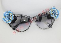 Popular Sky Blue rose mirror dodechedron girls fresh girls sunglasses