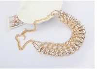 Popular exquisite metal rhinestone inlaying all-match elegant necklace