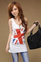 Summer new arrival slim spaghetti strap top flag print rhinestones long design vest