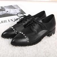 2014 shoes pointed toe single shoes women's shoes breathable mesh lacing shoes rubber sole shoes