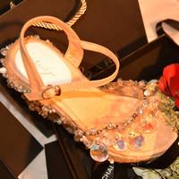 2014 genuine leather female sandals all-match platform sandals female sweet