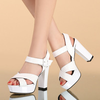 2014 female sandals ultra high heels genuine leather women's shoes fish shoes fashion brief all-match women's shoes leather