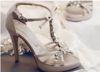 Diamond genuine leather stiletto sandals elegant sandals ol female sandals bow platform sandals shoes