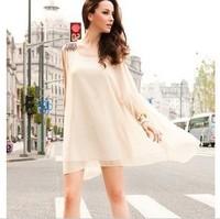 2014 Popular Fashion Europe and America Women Summer Dress Chiffon Fringed epaulets sleeveless Prom Dress With Free Belt 1013
