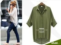 2014 new Korean fashion women Summer loose blouses Chiffon Sexy long sleeve Shirt Top casual blouses 3 colors