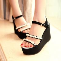 2014 platform sandals female fashion leather sandals comfortable pearl wedges sandals female