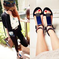Full rhinestone crystal genuine leather female sandals comfortable flat casual high open toe sandals female