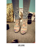 Cowhide high female sandals thick high-heeled handmade rivets sandals all-match nubuck leather open toe shoe