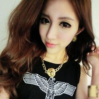 Fashion vintage gold lion head necklace quality metal short design necklace