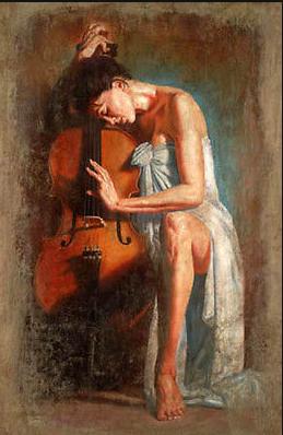 Pintura a óleo bela jovem sentado com seu violoncelo arte não quadro da lona(China (Mainland))
