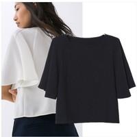 2015 Brand New Women's Girls Sollid Color Loose Design Ruffles Sleeve Blouse Blouses Tops for Women