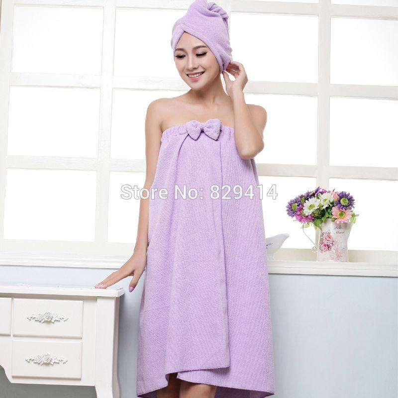 cloth skin dry and breathable Bathroom sets women bath towel + hair towel comfortable microfiber fabric bathrobe four colors(China (Mainland))